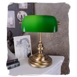 Lampa Banker din alama masiv si abajur din sticla verde