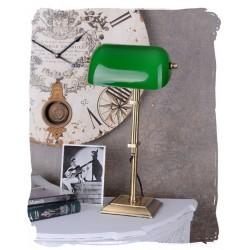Lampa Banker din alama masiva si abajur din sticla verde