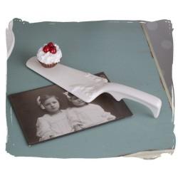 Spatula pentru tort dion portelan alb antichizat
