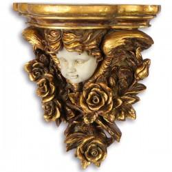 Consola de perete aurie cu ingeras din alabastru