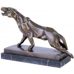 Pantera-statueta din bronz pe soclu din marmura