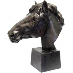 Cap de cal-statueta din bronz pe un soclu din marmura