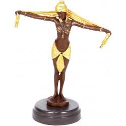 Dansatoare art deco-statueta din brinz pe un soclu din marmura