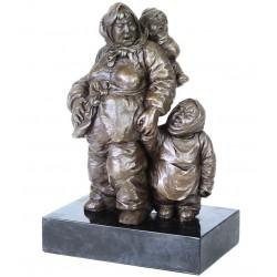 Chinezoica-statueta din bronz pe un soclu din marmura