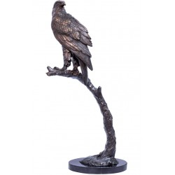 Vultur-statueta din bronz pe un soclu din marmura