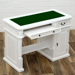 Birou pentru computer din lemn masiv alb si blat verde