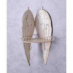 Etajera din fier forjat alb antichizat cu aripi