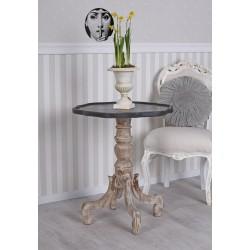 Masa din lemn masiv antichizat bej cu blat negru