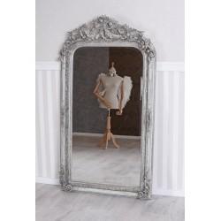 Oglinda baroc din cristal cu rama gri antichizat cu decoratiuni