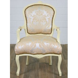 Scaun baroc din lemn masiv alb cu tapiterie gri cu crem