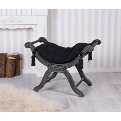 Scaunel turcesc din lemn masiv negru cu tapiterie neagra