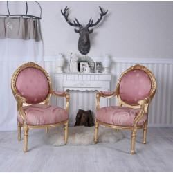 Fotoliu din lemn masiv auriu cu tapiterie roz