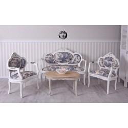 Set baroc din lemn masiv alb cu tapiterie cu albastru