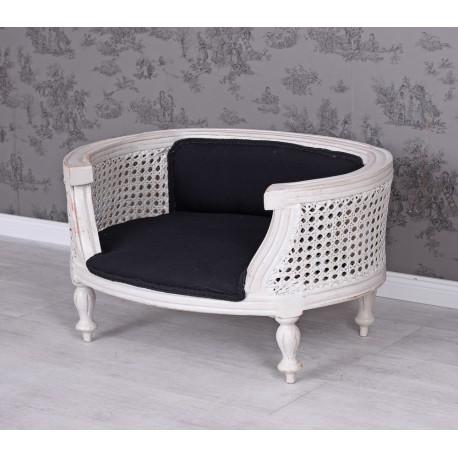 Canapea pentru caine din lemn masiv alb cu tapiterie neagra