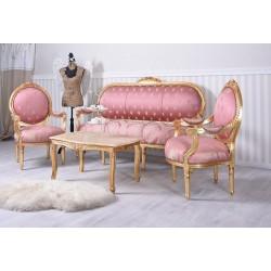 Set baroc din lemn masiv auriu cu tapiterie roz