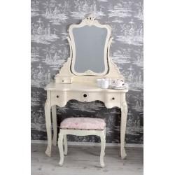 Masa toaleta din lemn masiv alb antichizat cu scaunel roz