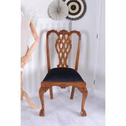 Scaun Chippendale din lemn mahon cu tapiterie neagra