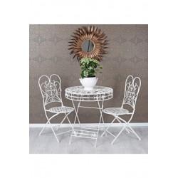 Set gradina cu masa si doua scaunedin fier forjat Antik White