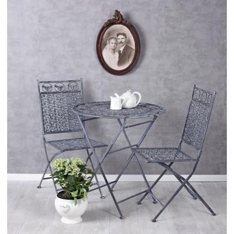 Set gradina cu masa si doua scaune din fier forjat Antik Black