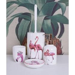Set pentru baie din portelan alb cu pasari flamingo