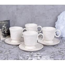 Set patru cesti de cafea din portelan alb