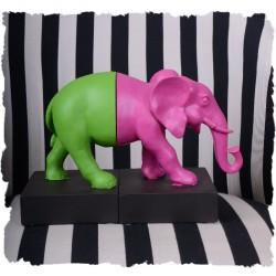 Set doua suporturi pentru carti cu elefant multicolor