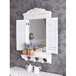 Oglinda fereastra din lemn masiv alb antichizat