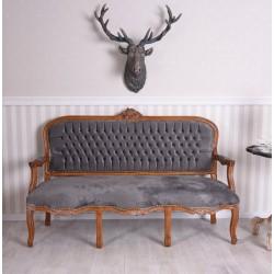 Sofa baroc din lemn mahon cu tapiterie din catifea gri inchis