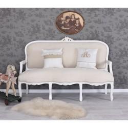 Sofa baroc din lemn masiv alb cu tapiterie bej