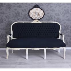 Sofa baroc din lemn masiv alb cu tapiterie din catifea neagra