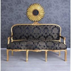Sofa baroc din lemn masiv auriu cu tapiterie din matase albastra
