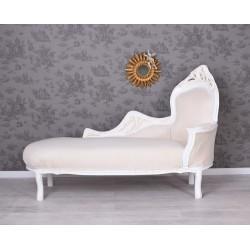 Sofa din lemn masiv alb cu tapiterie bej