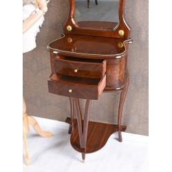 Consola cu oglinda din lemn masiv furniruit cu decoratiuni din alama