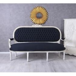 Sofa trei locuri din lemn masv alb cu tapiterie din catifea bleumarin